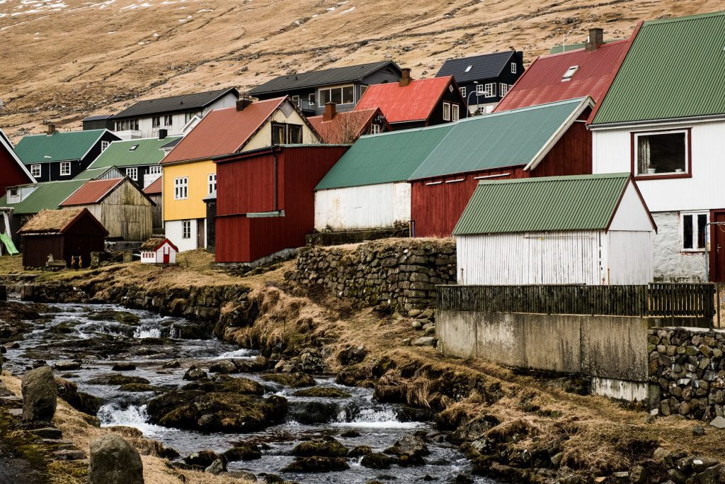 Houses in Gjógv on the Faroe Islands