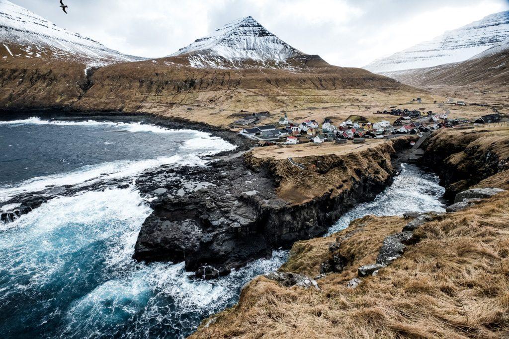 Iconic view fo Gjógv on the Faroe Islands