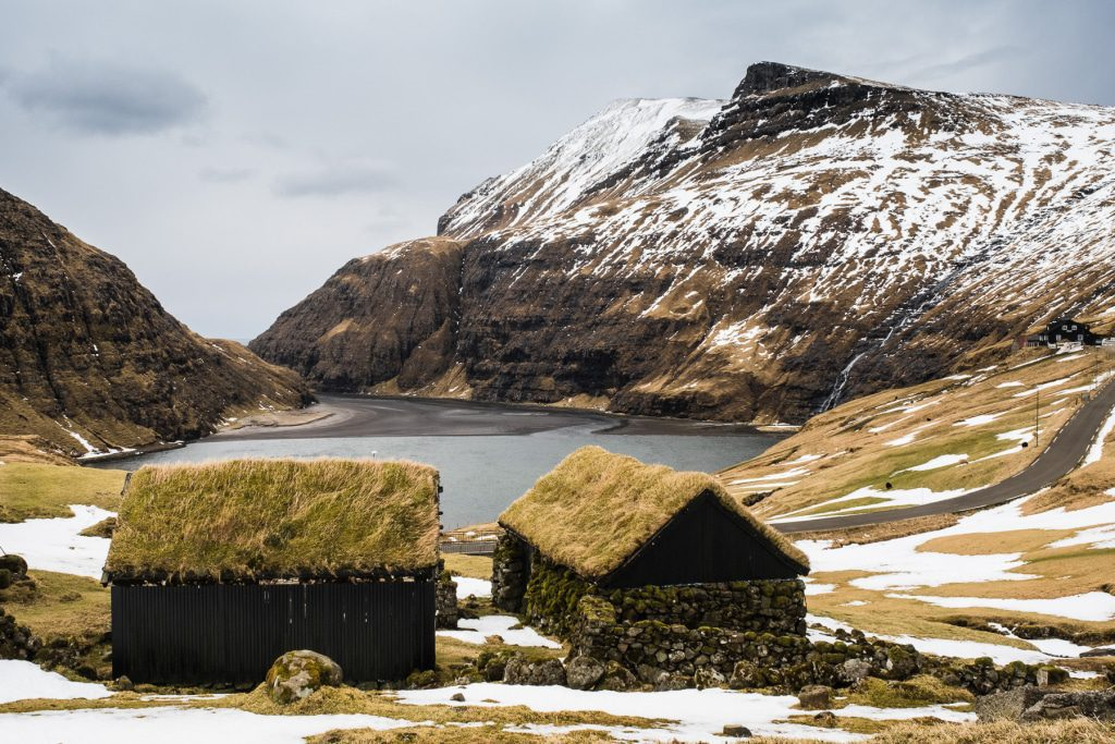 Grass houses in Saksun on the Faroe Islands