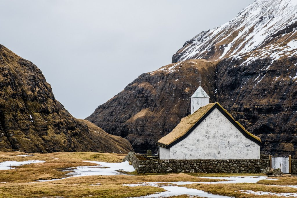 Famous church in Saksun on the Faroe Islands