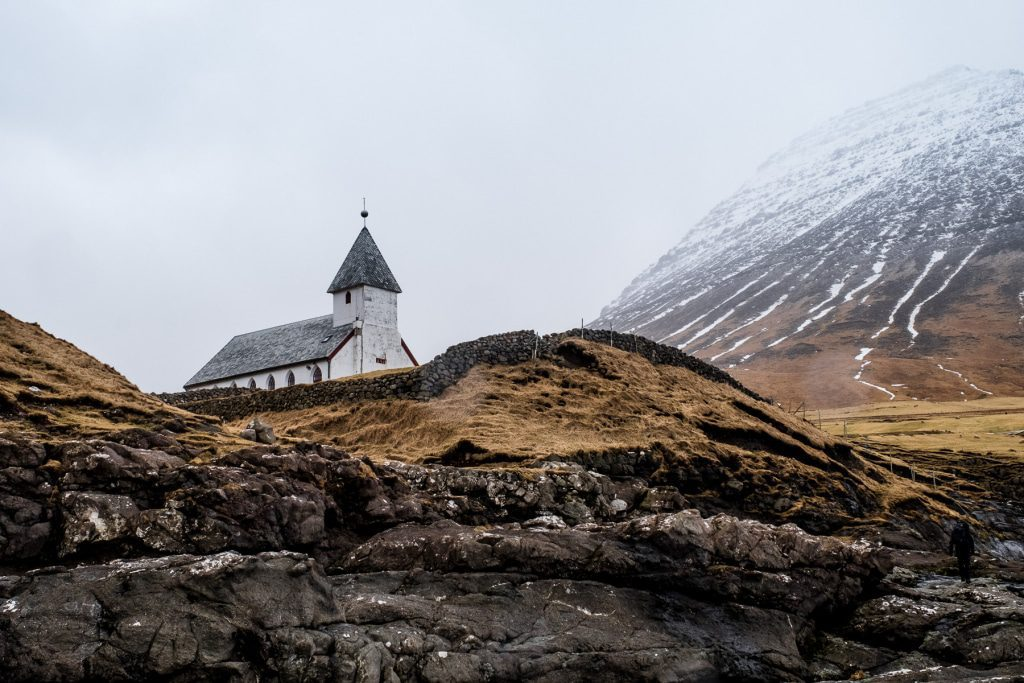 Church above the ocean in Viðareiði on the Faroe Islands