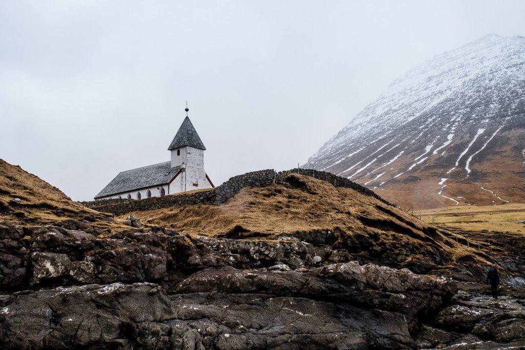 Church above the ocean in Viðareiði on the Faroe Islands