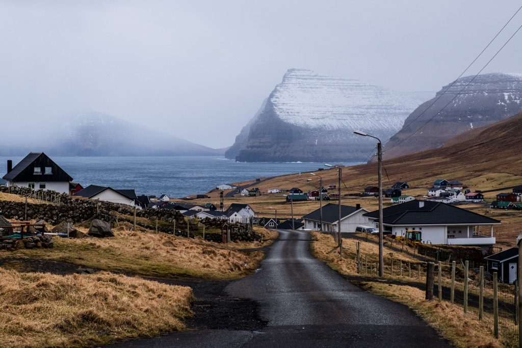 Roud through the village of Viðareiði on the Faroe Islands