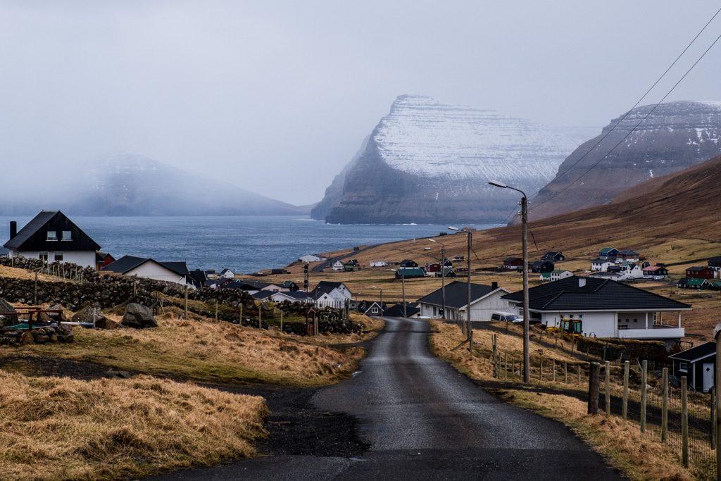 Roud through the village of Viðareiði on the Faroe Islands