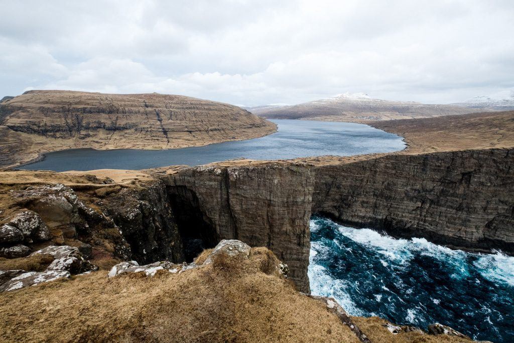 Leitisvatn in Miðvágur on the Faroe Islands