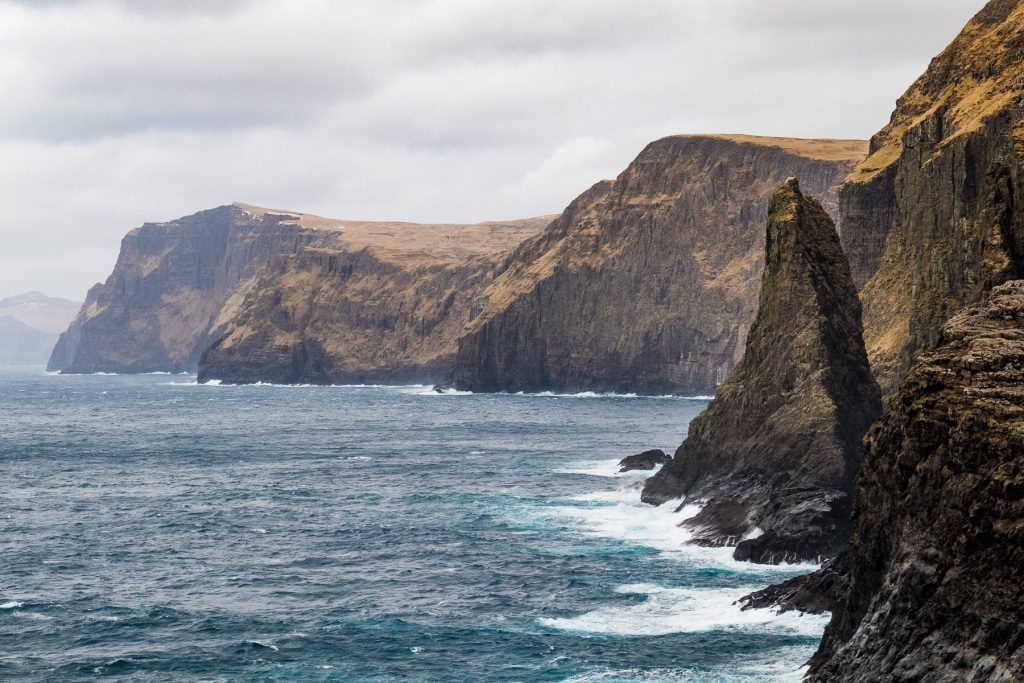 Iconic cliffs at Midvágur on the Faroe Islands